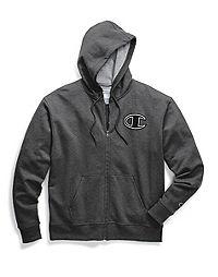 Champion Men's Powerblend® Fleece Zip Hoodie, Chainstitch Outline C Logo