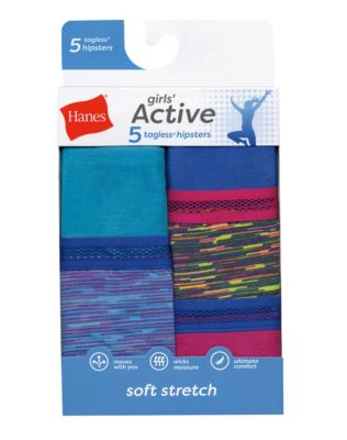 Hanes Girls Active Stretch Hipster 5-Pack