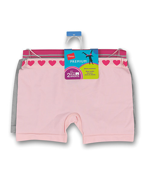 Hanes Premium Girls' Playshorts 2-Pack