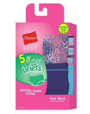 Hanes Best Girls' Cotton Stretch Brief 5-Pack (4 + 1 Free Bonus Pack