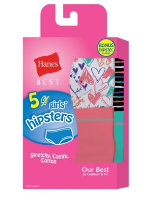 Hanes Best Girls' Cotton Stretch Hipsters 5-Pack (4 + 1 Free Bonus Pack)