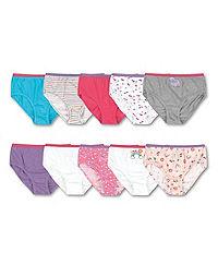 Hanes Girls' Cotton Briefs 10-Pack