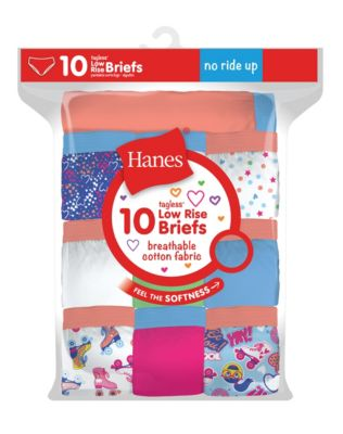 Hanes Girls' Cotton Low Rise Briefs 10-Pack