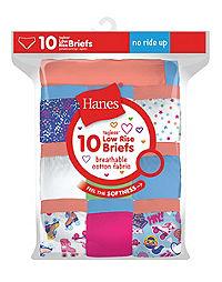 Hanes Girls' Cotton Low Rise Briefs 10-Pack