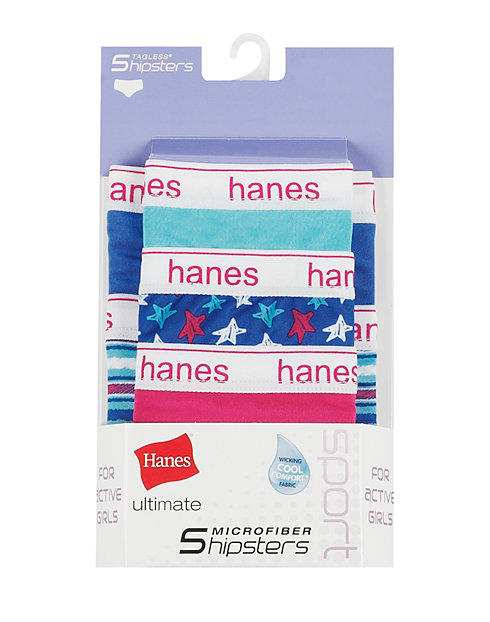 Hanes Ultimate® Girls' Sport Microfiber Hipsters 5-Pack