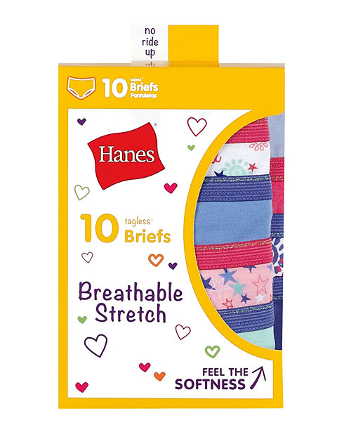Hanes Girls' Breathable Stretch Briefs 10-Pack