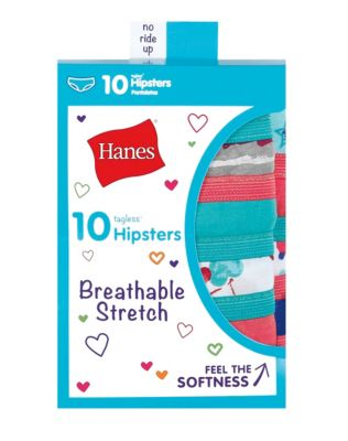 Hanes Girls' Breathable Stretch Hipsters 10-Pack