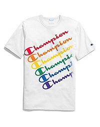 Exclusive Champion Life® Pride Tee, Repeating Rainbow Logo
