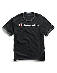 Champion Men's Classic Jersey Ringer Tee, Script Logo