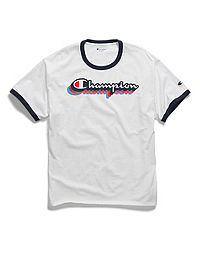Champion Men's Classic Jersey Ringer Tee, Multi-Color Shadow Logo