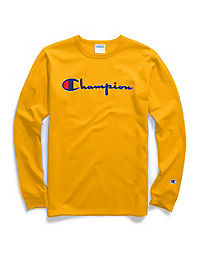 Champion Life® Men's Heritage Long-Sleeve Tee, Flock Script Logo