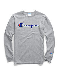 d100107ca047 Champion Life® Men's Heritage Long-Sleeve Tee, Flock Script Logo