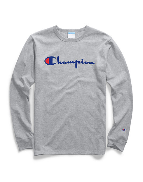 d867a7c9f6f3 Champion Life® Men's Heritage Long-Sleeve Tee, Flock Script Logo | Champion
