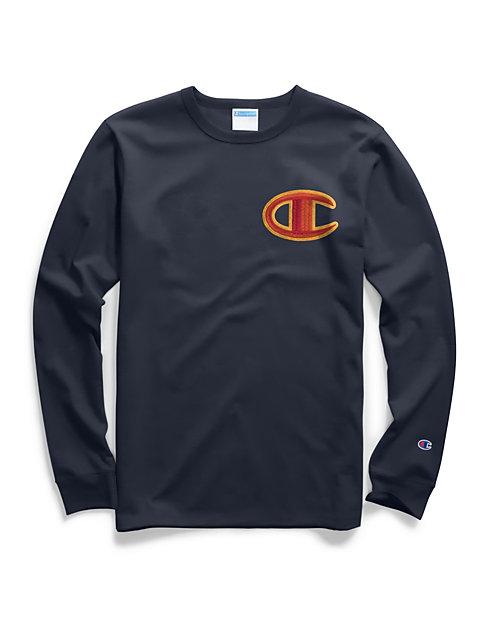 a505e975258c Champion Life® Men's Heritage Long-Sleeve Tee, Floss Stitch C Logo |  Champion