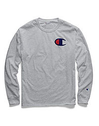 Champion Men's Classic Jersey Long-Sleeve Tee, Big C Logo