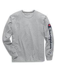 Champion Men's Classic Jersey Long-Sleeve Tee, Vertical Script Logo