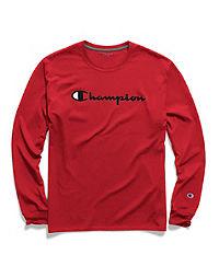 Champion Men's Classic Jersey Long-Sleeve Tee, Script Logo