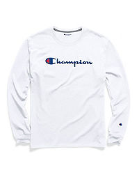 24490fa15038 Champion Men's Classic Jersey Long-Sleeve Tee, Script Logo. White Color ...