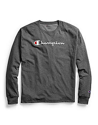 e5fc0eb7f90d Champion Men's Classic Jersey Long-Sleeve Tee, Script Logo. NEW