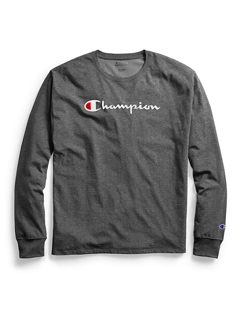 d52722f1d8bb Champion Men's Classic Jersey Long-Sleeve Tee, Script Logo | Champion