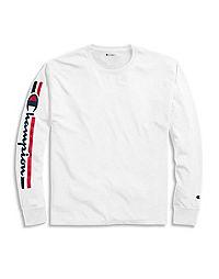 Champion Men's Classic Jersey Long-Sleeve Tee, Vertical Logo