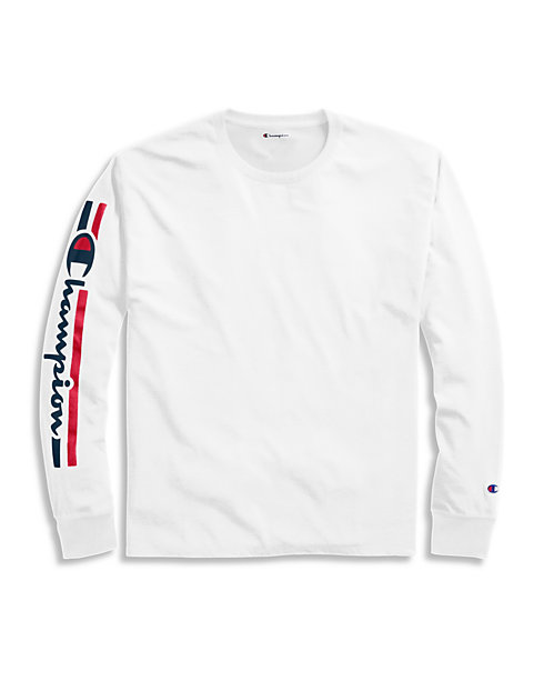 Champion Men's Classic Jersey Long-Sleeve Tee, Vertical Logo