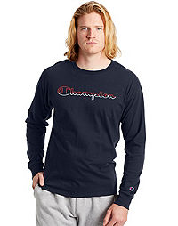 Champion Men's Long-Sleeve Jersey Tee, Split Script Logo