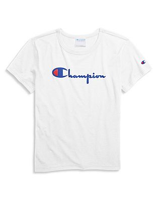 better factory authentic 100% top quality Champion Life® Women's Original Tee, Flocked Vintage Logo