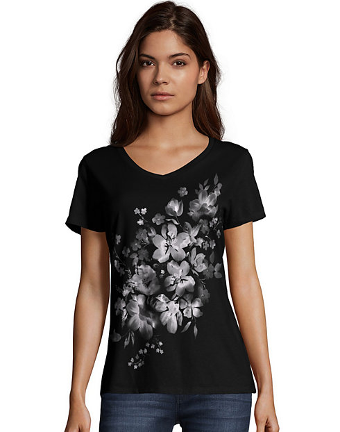 Hanes Women's Bleach Floral Cascade Short-Sleeve V-Neck Graphic Tee