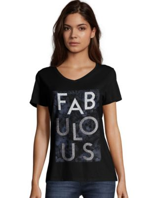 Hanes Women's Fabulous Short-Sleeve V-Neck Tee