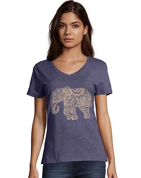 2a69fa4ec Pattern Elephant Short Sleeve V-Neck Graphic Tee   OneHanesPlace
