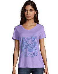 Hanes Women's Big Butterfly Short-Sleeve V-Neck Graphic Tee