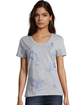 Hanes Women's Floral Message Short-Sleeve V-Neck Graphic Tee