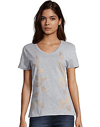 Hanes Women's Metallic Foliage Toss Short-Sleeve V-Neck Graphic Tee