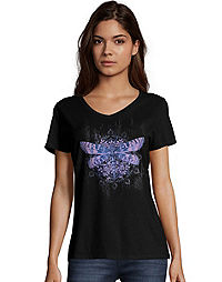 Hanes Women's Dragonfly Mandala Short-Sleeve V-Neck Graphic Tee