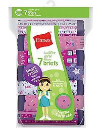 Hanes TAGLESS® Toddler Girls Cotton Briefs 7-Pack