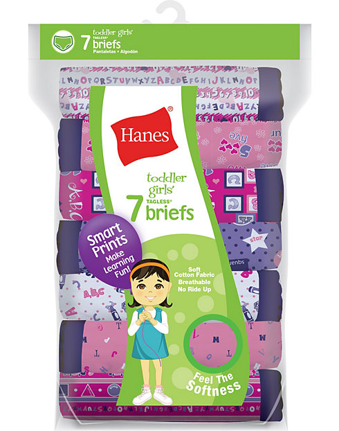 Hanes Toddler Girls' Briefs Cotton Briefs 7-Pack