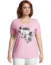 JMS Simple Floral Short Sleeve Graphic Tee