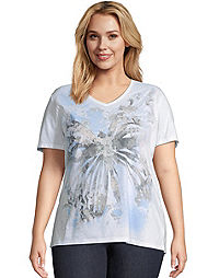 JMS True Blue Butterfly Short Sleeve Graphic Tee