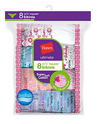 Hanes Ultimate® Girls' Cotton Bikinis 8-Pack