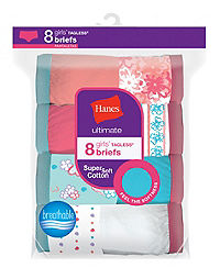 Hanes Ultimate® Girls' Cotton Briefs 8-Pack
