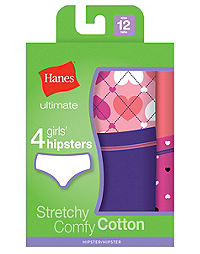 Hanes Ultimate™ TAGLESS® Cotton Stretch Girls' Hipsters 4-Pack