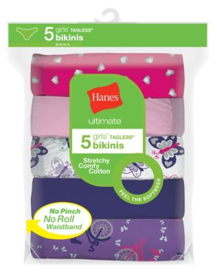Hanes Ultimate® Girls' Cotton Stretch Bikinis 5-Pack