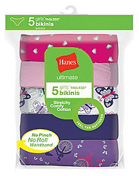 Hanes Ultimate® Girls' Cotton Stretch Bikinis 5-Pack