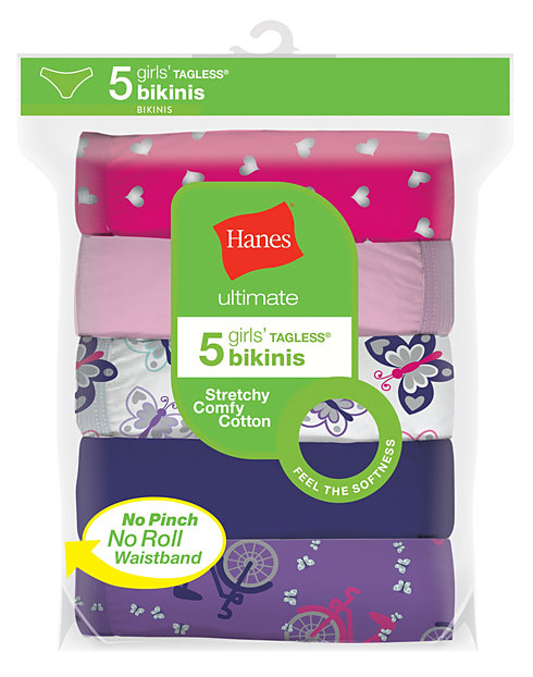 9f52f1d0a Hanes Ultimate® Girls  Cotton Stretch Bikinis 5-Pack
