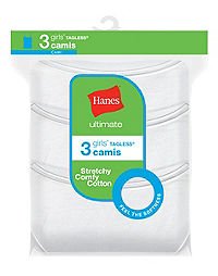 Hanes Ultimate® Girls' Cotton Stretch Cami 3-Pack