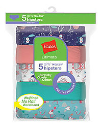 Hanes Ultimate® Girls' Cotton Stretch Hipsters 5-Pack