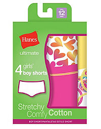 Hanes Ultimate™ TAGLESS® Cotton Stretch Girls' Boy Shorts 4-Pack