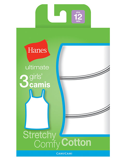 Hanes Ultimate™ TAGLESS® Cotton Stretch Girls' Cami White 3-Pack
