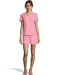 Hanes Women's ComfortSoft® Button Front with Pocket Short Sleeve Shirt  and Short Sleep Set